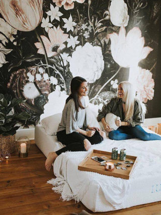 Moody Black Dark Floral Matte Wallpaper Mural