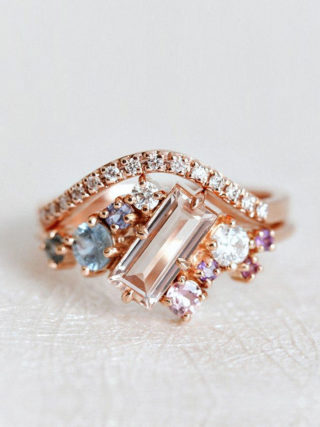 Baguette Morganite Engagement Ring with Diamond Curved Band Stackable Set
