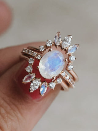 Ice Moonstone Ring with Diamond Stackable Crown 3-in-1 Set