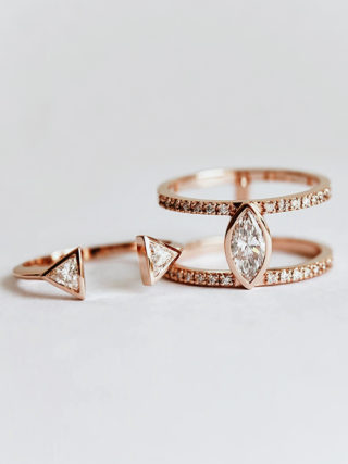 Trillion Horseshoe Diamond Engagement Ring Set