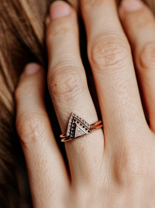 Modern Black Diamond Triangle Stackable Ring Set