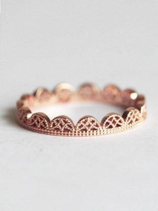 Lace Crown Wedding Band