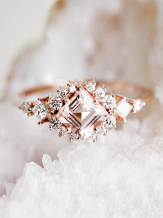 Morganite Diamond Cluster Ring