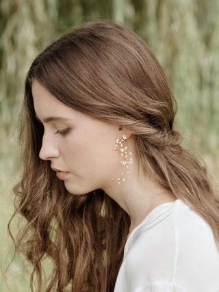 Baby's Breath Pearl Long Vine Earrings