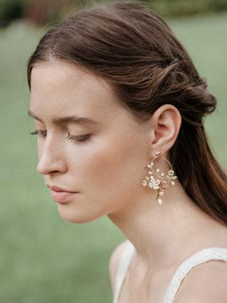 Teardrop Pendant Flower Earrings