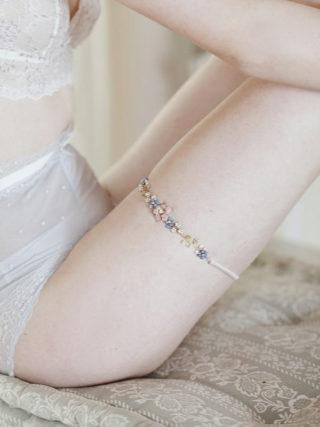 Pink and Blue Floral Bridal Garter