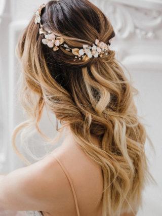 Emma Enamel Floral Pearl Bridal Headband