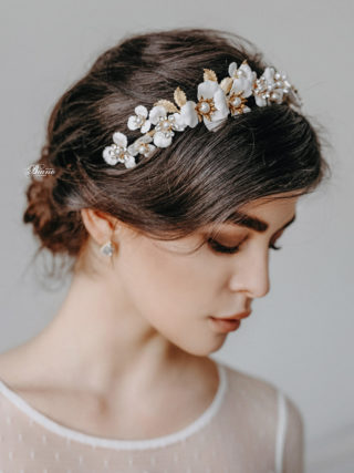 Cynara White Garden Headpiece