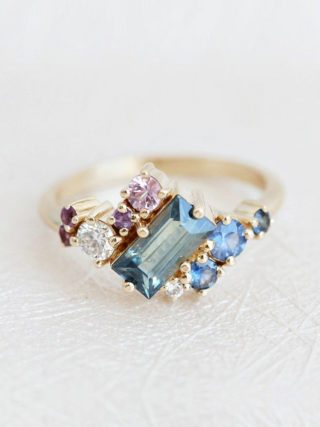 Baguette Sapphire Cluster Engagement Ring