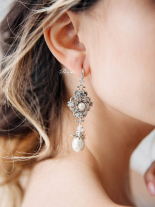 Skylar Rhinestone Flower Pearl Drop Earrings