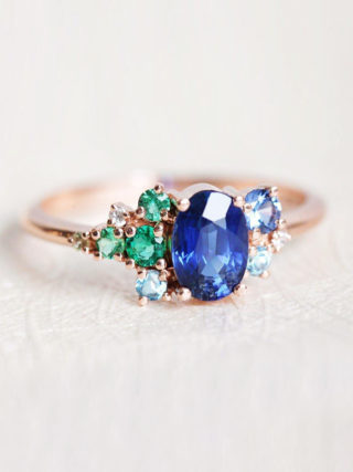 Sapphire Emerald Diamond Cluster Engagement Ring