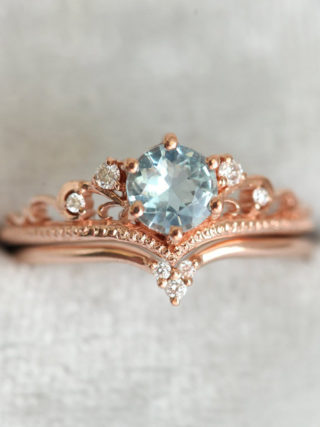 Aquamarine Engagement Ring with Diamond Crown Band Stackable Set