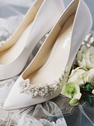 White ivory floral wedding shoes