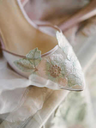Floral blush wedding shoes