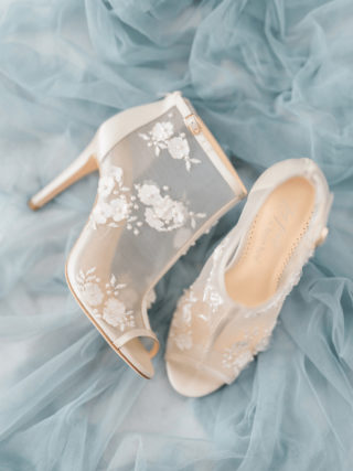 White ivory wedding booties