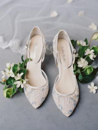 Viola Baby Blue Floral Lace Ivory Wedding Heel
