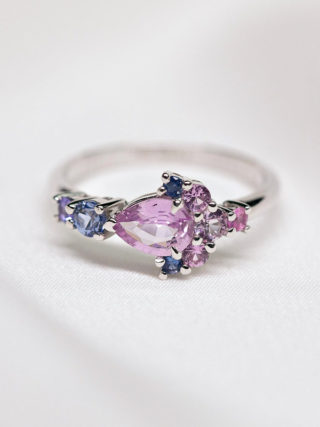 Purple Violet Sapphires Cluster Ring