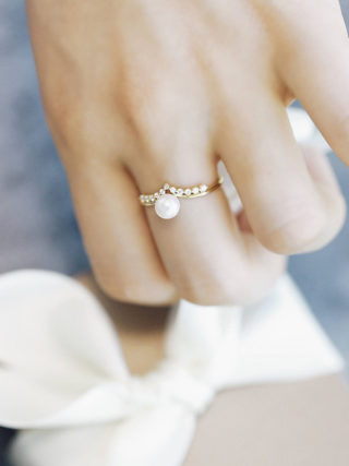 Elegant Pearl and Diamond Cluster Ring