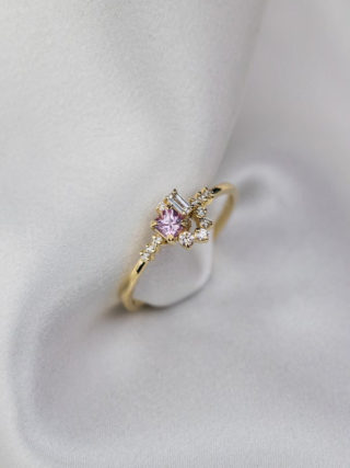 Sparkle Diamond and Pink Sapphire Cluster Ring
