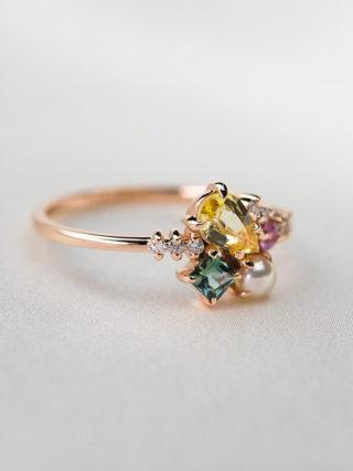 Yellow Sapphire and Akoya Pearl Diamond Cluster Ring