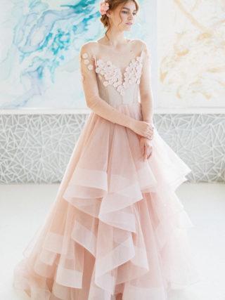 Mira Dusty Pink Chantilly Lace Wedding Dress