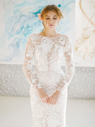 Frigga Fit-and-Flare Embroidered Lace Rose Gown