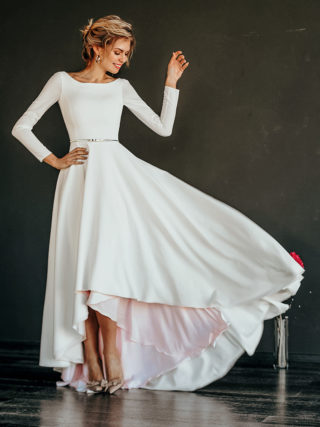 Makani Minimalist High-Low Wedding Dress