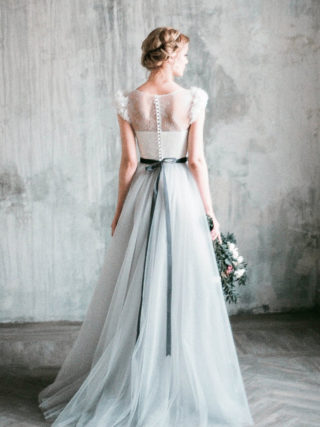 Neva Flowery Lace Tulle Wedding Dress