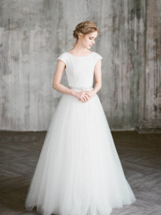 Uda Modest Chantilly Lace Wedding Gown