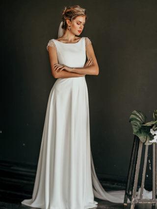 Mele Classic Pearl Embellished Wedding Dress