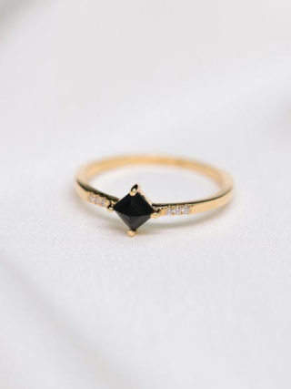 Black Square Onyx Diamond Ring