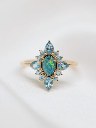 Antique Deco Opal and Topaz Cluster Ring