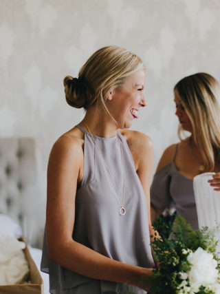 Bridesmaid separate neutral gray top