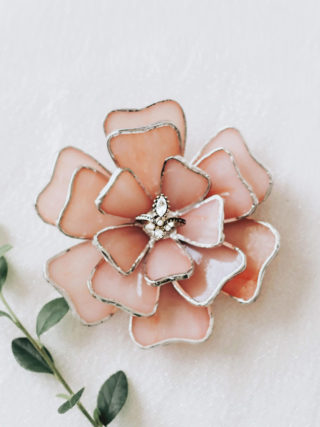 Glass Flower Ring Dish