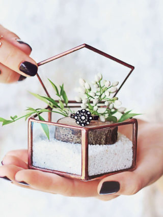 Pentagon Glass Geometric Ring Bearer Box
