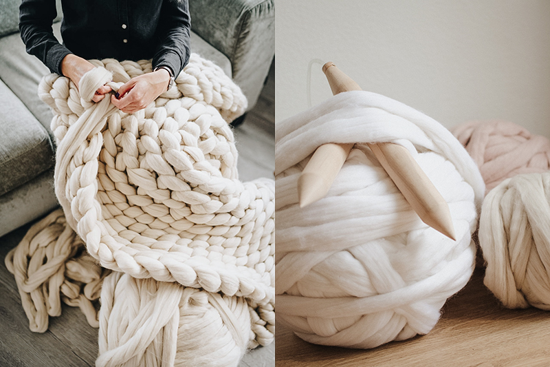Wool Art high quality chunky knit blanket