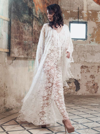 Long Bohemian Lace Kaftan Cover Up Dress