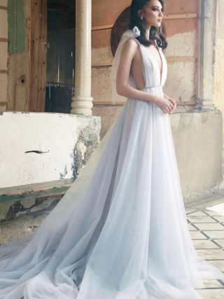 Something Blue Bow Shoulder Fairy Tale Gown