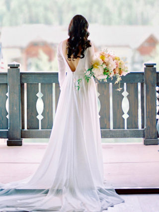 Chiffon Long Sleeve Slit Wedding Dress