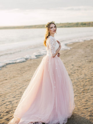 Jules Two-Piece Blush Wedding Dress