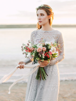 Tara Long Sleeve Gray Lace Wedding Dress