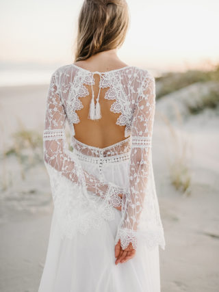 Mabel Bohemian Backless Long Sleeve Lace Wedding Dress