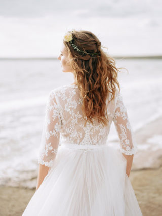 Сandace 3/4 Sleeve Ivory Lace Wedding Dress