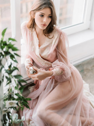 Anastasia Blush Tulle Gold Chantilly Lace Bell Sleeve Robe
