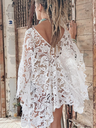 Short Laced Crochet Kimono Cover Up