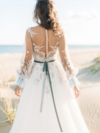 Handmade something blue wedding dress