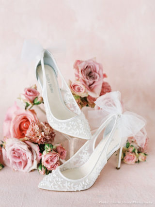 Floral Beaded Lace Wedding Heel with Bow