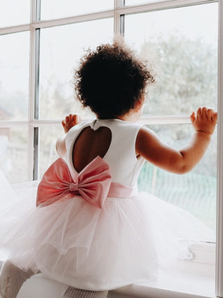 Pink Tutu Bow Sash Dress