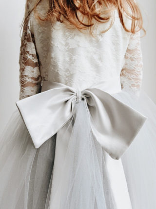 Lace 3/4 sleeve Bow Sash Dress