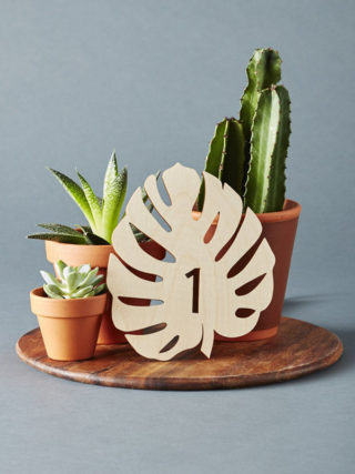 Monstera Lasercut Wooden Table Numbers